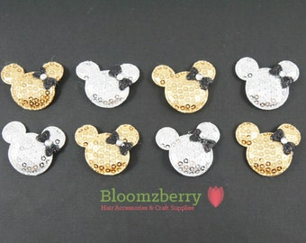 """1.5"""" Sequin Micky Mouse with Bows Padded - Silver and Gold Mickey-  Sequin Appliques, Micky Mouse Appliques - Hair Accessories Supplies"""