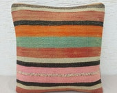 20x20  STRIPED Stripe Large Pink Orange Green Color Body Kilim Pillow Cover,Large Floor Cushions,Large Shine Society Wool Sofa Kilim Pillows - pillowsstore