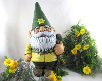 Ceramic LARGE Gnome with Artisan Painted Flowers - 21 inches - hand made, painted, lawn or garden