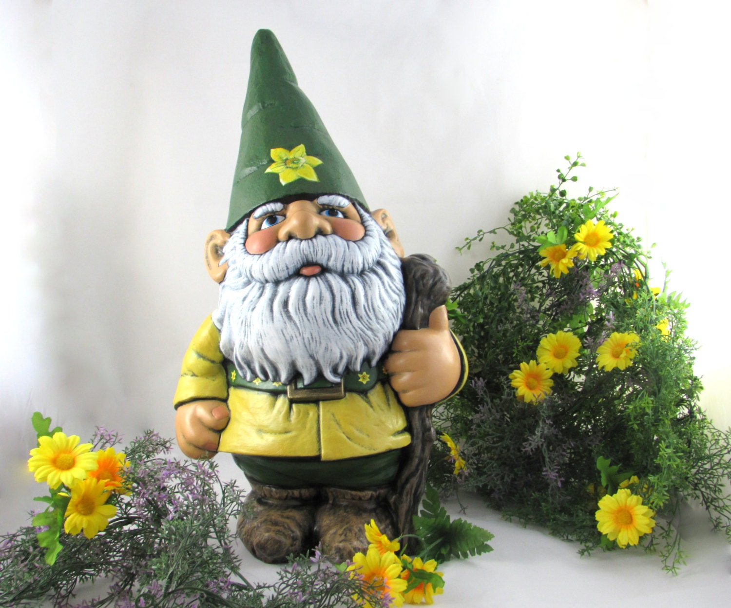 Gnome In Garden: Ceramic LARGE Gnome With Artisan Painted Flowers 21 Inches