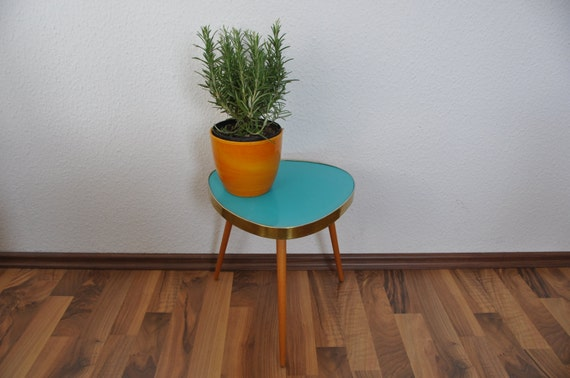 mid century modern plant stand turquoise laminate east. Black Bedroom Furniture Sets. Home Design Ideas