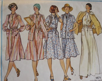 1970s Vogue 1471 Dress and Jacket Vintage Sewing Pattern Bust 34
