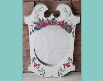 Decorative Hand-painted Mirror with Folk-art Flowers and Red Berries Pinewood