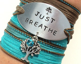 Just BREATHE Bracelet, Wrap Bracelet, SIlk Wrap, Yoga Jewelry, Yoga Teacher Gift, Boho Wrap Bracelet, Meditation Bracelet, Kabbalah Gift