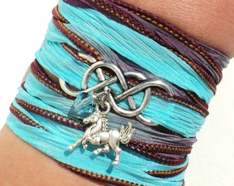 Infinity Silk Wrap Bracelet Horse Jewelry Equestrian Double Eternity Love Unique Gift For Her Mothers Day Daughter Under 50 Item M5