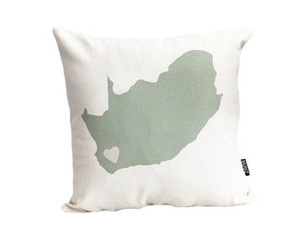 Mint South Africa Love 16x16 inch Pillow Cover, Throw Cushion, Urban, Modern, Beige, Off-White, Earthy