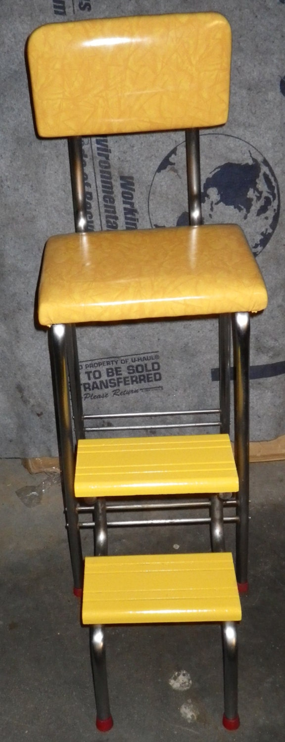 vintage 1950s kitchen step stool booster diner chair