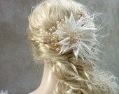 Wedding hair clip kanzashi ivory Dienge