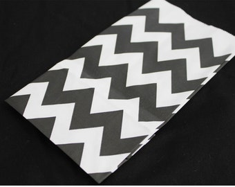10 Black and White Chevron Paper Bags for Party Favors or Small Gifts 4-1/4x8x2-1/4