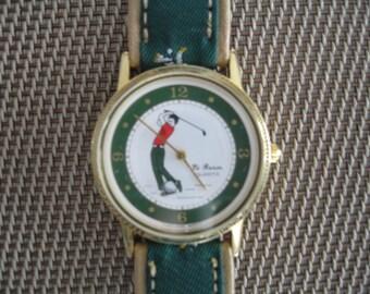 Vintage Le Baron Quartz Men's Golf Watch With Leather Band