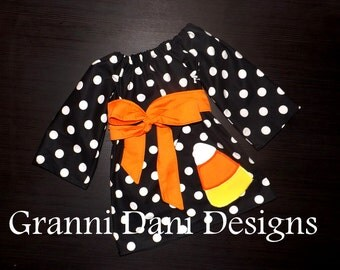 halloween candy corn long sleeve Polka dot peasant dress applique baby toddler girl 12 18 24 months 2t 3t 4t 5t