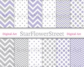 Purple Gray Digital Paper Chevron Polka Dot Scrapbook Background - small large patterns lavender grey photography DIY baby shower decoration
