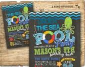 Pool party invitation - under the sea invitation for pool party - DIY printable beach invitation - under the sea pool party birthday