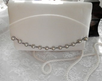 Vintage wedding, white satin handbag,French chic,rhinestone trim,corded strap,wedding,bridal bag