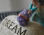Raw Amethyst Druzy Geode, Turquoise, Copper Wrapped Large Pendant, Luxe, Sparkle, Fashion