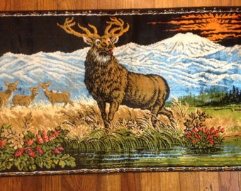 Deer Tapestry velvet carpet style wildlife buck nature mountain scene fringe 60s wall decor