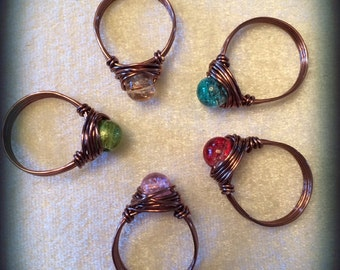 Captain Planet Rings- Set of 5- Earth, Wind, Fire, Water & Heart