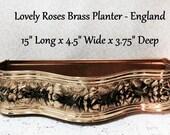 Roses Planter Mad Men Vintage 50s Brass England Floral Arrangement Herbs Romantic Regency Paris Apartment Chic FREE S&H