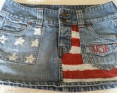 Hand Painted Stars and Stripes Patriotic Denim Mini Skirt Size 3 by Hollister