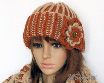 Brioche knit chunky cowl - brown scarf - beige scarf - knit accessories - chunky beanie - super scarf - gift for women - brown beanie