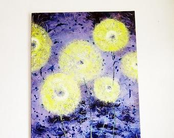 "original flower oil painting 22""X28"" modern abstract purple blue yellow green"