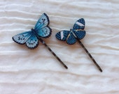 2 Butterfly Hair Grips. Butterflies Bobby Pins. Vintage Style Hair Slides. Blue Butterflies.  Nature Lover