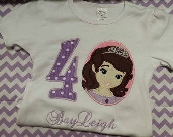 Sophia the First Birthday shirt - 1-8 Machine Embroidered