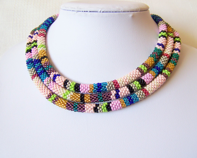 beaded crochet rope necklace beadwork seed