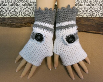 Boho Crochet Fingerless Gloves, Wool Buckle Arm Warmers, White Grey Wrist School Mittens, Nchanted Gifts Australia