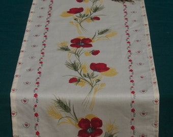 "Table Runner, 60"" long or 72"" long. oilcloth, cotton coated. Fabric from Provence France. Poppies in a white backround ."