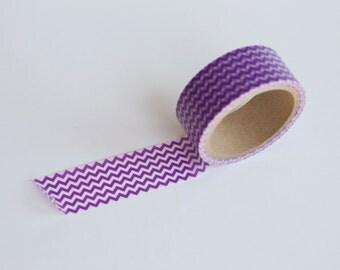 Wide Purple Chevron Washi Tape -  20mm wide single roll