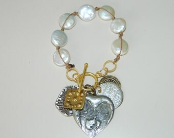 Soul Mate, Valentine Heart, Turkish Silver Coin, Knotted Pearl Charm Bracelet