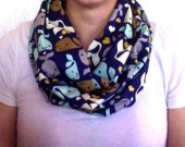 Stocking Stuffer Infinity Scarf - Whales Blue Brown White