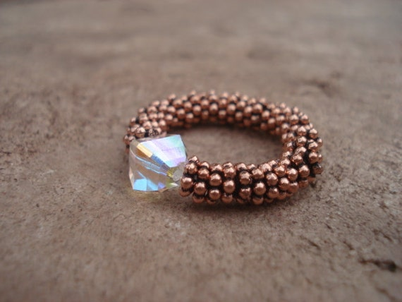 Womens Stretch Ring, Opalescent Crystal Ring, Crystal Jewelry, Copper Jewelry, Copper Beaded Ring, Gemstone Ring, Gypsy Ring, Gift For Her