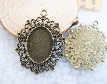 5 pcs 38x49mm-18x25mm Antique Bronze Oval Cameo Cabochon Base Setting Pendants Charm Jewelry Supplies A1219-6B