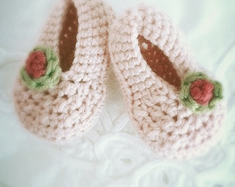 Pale Pink Booties Newborn to 6 Months