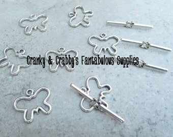 20mm X 17mm Silver Butterfly Toggle Clasps set of 10