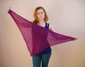 knitted shawl purple scarf