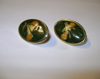 Handpainted Oval Clip On Earrings Green with Gold and Tan Design