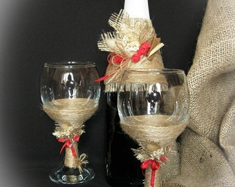 Rustic Style Wedding Glasses, Dried Flowers, Foam Rose, Rustic Wedding, Toasting Flutes, Champagne Glasses, Wine Glasses, Champagne Flutes