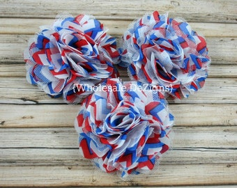 "Chevron Red, White, & Blue Satin and Tulle Ruffled Flower Puff - 3"" Fourth of July"