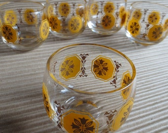 Set of 5 Roly Poly Vintage Glasses Barware Low Ball 1950s Hand Blown Federal Glass Co.