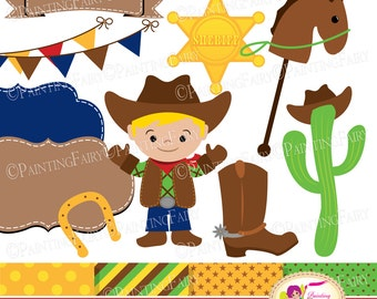 Cowboy Clip Art Set Cliparts Cute boy illustration Bunting Label Party elements Polka dots Digital Papers Personal & Commercial Use pf00074