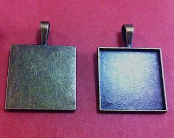 5pcs 25mm Antique Bronze square pendant Trays F514