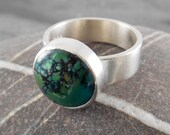 RESERVED: Turquoise Button Ring in Sterling Silver, handmade, CORNART, Cornwall, green, gemstone