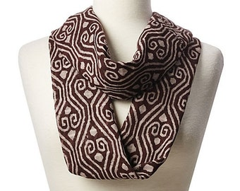 Eggplant Geometric Circle Scarf - Hand block printed, Natural Vegetable Dyes, 100% Cotton