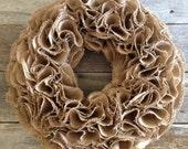 Shabby Chic Burlap Wreath,Burlap Wreath,Rustic Wreath,25x25,Tan Wreath,Year Round Wreath Chalkboard,bunting,