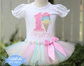 PERSONALIZED Pastel Ice Cream Cone Birthday Number Tutu Outfit