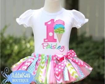 Personalized Ice Cream Cone Fabric Tutu Birthday Outfit