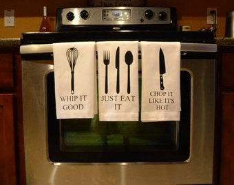 Whip It, Chop It. Eat It, Custom kitchen towels, Kitchen towels. funny towels, housewarming gift